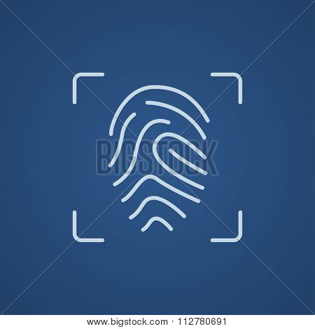 Fingerprint scanning line icon for web, mobile and infographics. Vector light blue icon isolated on blue background.