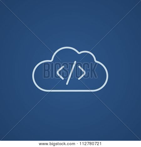 Transferring files cloud apps line icon for web, mobile and infographics. Vector light blue icon isolated on blue background.