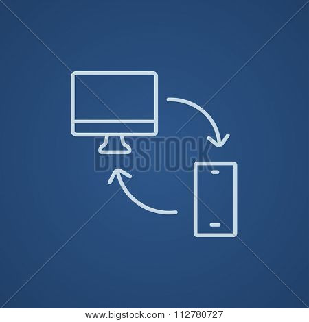 Synchronization computer with mobile device line icon for web, mobile and infographics. Vector light blue icon isolated on blue background.