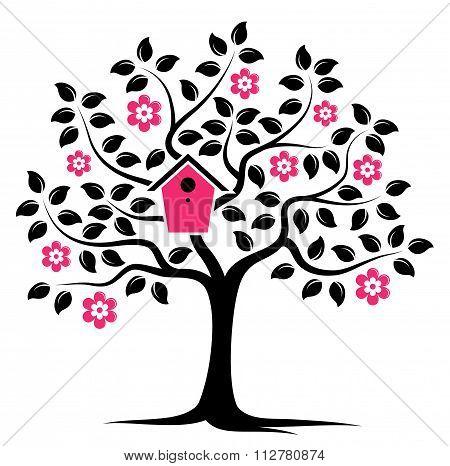 Flowering Tree With Nesting Bird Box