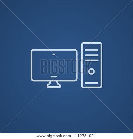 CPU and monitor line icon for web, mobile and infographics. Vector light blue icon isolated on blue background.