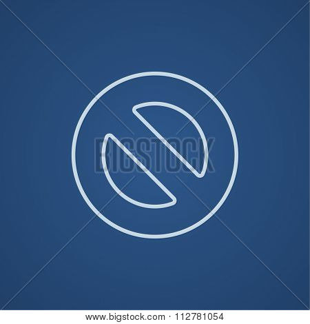 Not allowed sign line icon for web, mobile and infographics. Vector light blue icon isolated on blue background.