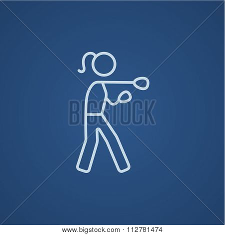Female boxer line icon for web, mobile and infographics. Vector light blue icon isolated on blue background.