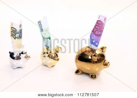 golden pig bank, family sucess, business concept