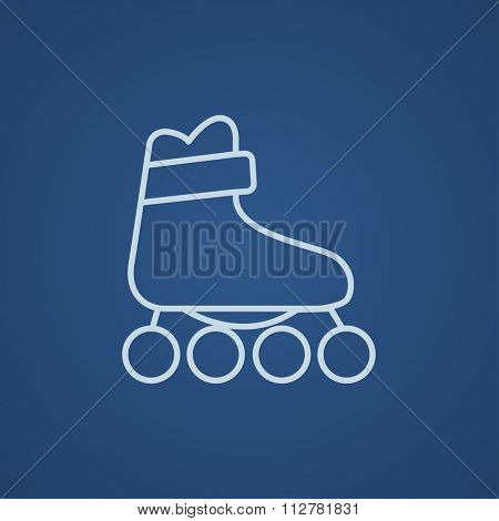 Roller skate line icon for web, mobile and infographics. Vector light blue icon isolated on blue background.