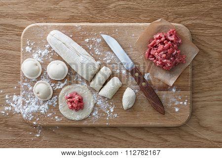 Meat dumplings cooking