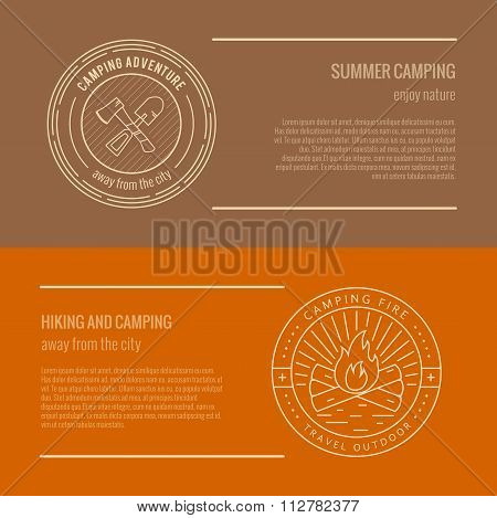 Set of banner templates with camping logo badge