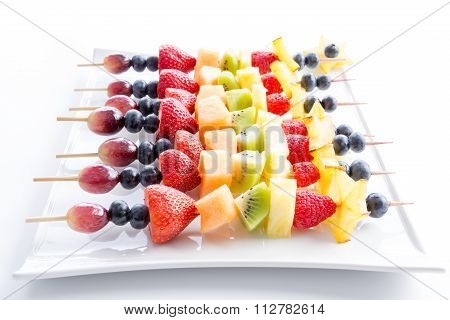 Serving Of Colorful Fresh Fruit Kebabs