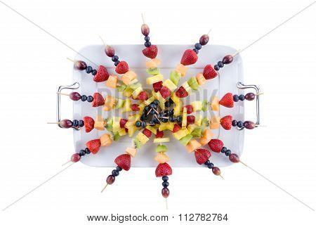 Buffet Arrangement Of Healthy Fruit Kebabs