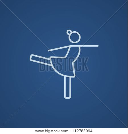 Female figure skater line icon for web, mobile and infographics. Vector light blue icon isolated on blue background.