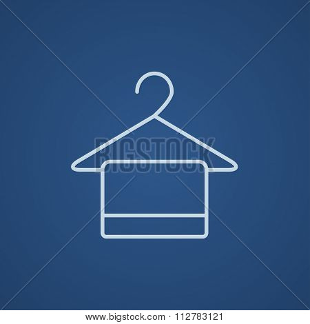 Towel on hanger line icon for web, mobile and infographics. Vector light blue icon isolated on blue background.