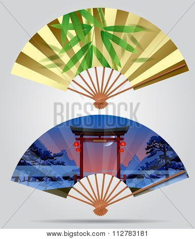 Japanese and chinese fans with bamboo and landscape with a gate. Contain the Clipping Path