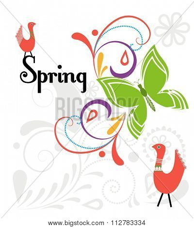 Spring Flourish with funky birds and butterfly