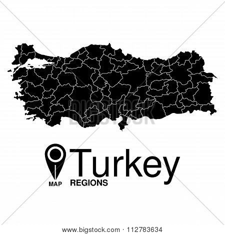 Regions Map Of Turkey. Turkey