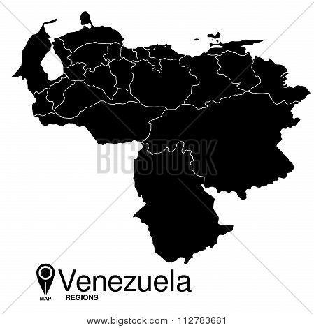 Regions Map Of Venezuela