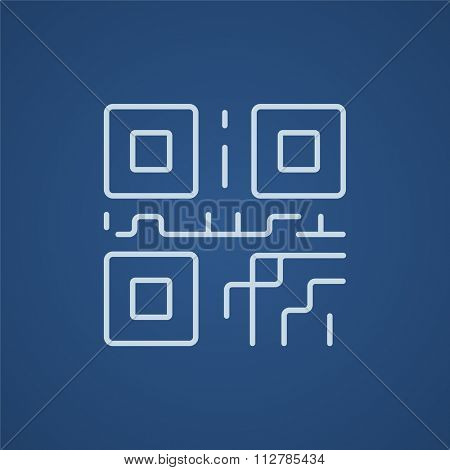 QR code line icon for web, mobile and infographics. Vector light blue icon isolated on blue background.