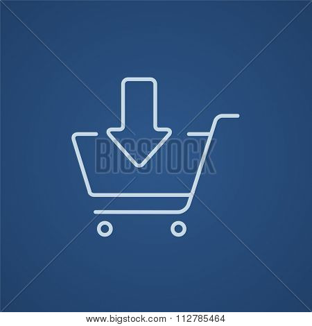 Shopping cart with down directed arrow line icon for web, mobile and infographics. Vector light blue icon isolated on blue background.