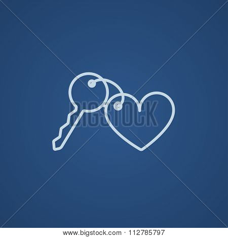 Trinket for the keys as a heart line icon for web, mobile and infographics. Vector light blue icon isolated on blue background.