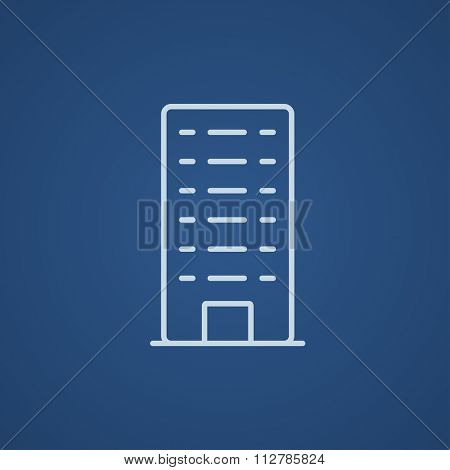 Residential building line icon for web, mobile and infographics. Vector light blue icon isolated on blue background.