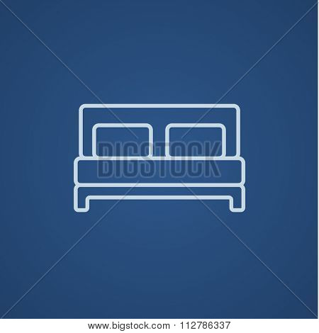 Double bed line icon for web, mobile and infographics. Vector light blue icon isolated on blue background.