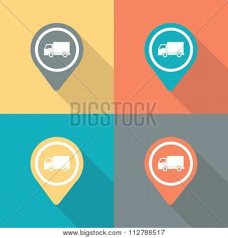 Truck pin icon. Map pointer truck icon.