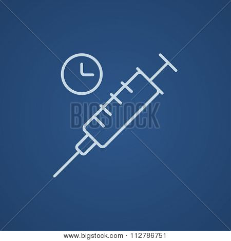Syringe with clock line icon for web, mobile and infographics. Vector light blue icon isolated on blue background.