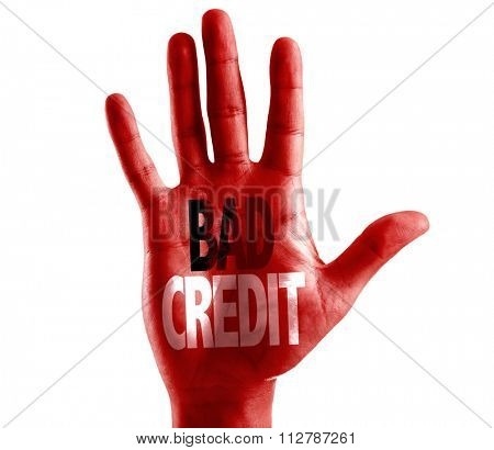 Bad Credit written on hand isolated on white background