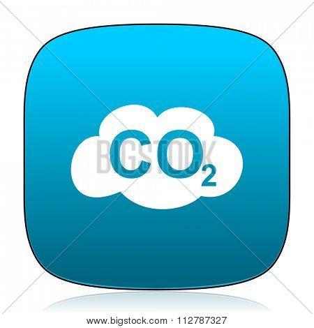 carbon dioxide blue icon