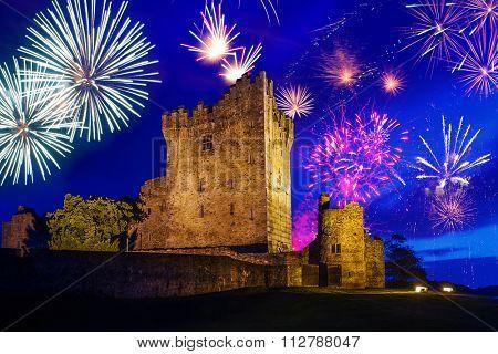 Fireworks over Ross Castle in Ireland