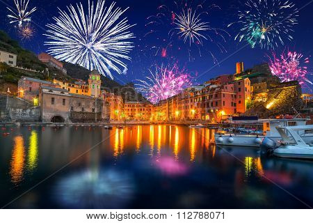 New Years firework display in Vernazza town, Italy