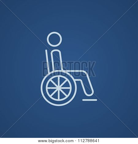 Disabled person sitting in the wheelchair line icon for web, mobile and infographics. Vector light blue icon isolated on blue background.