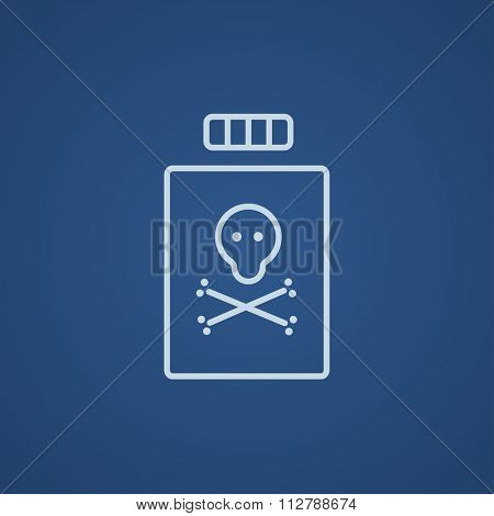 Bottle of poison line icon for web, mobile and infographics. Vector light blue icon isolated on blue background.