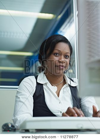 Adult Woman Working In Call Center