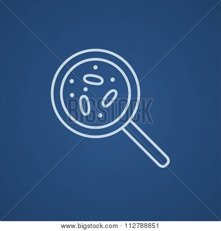 Microorganisms under magnifier line icon for web, mobile and infographics. Vector light blue icon isolated on blue background.