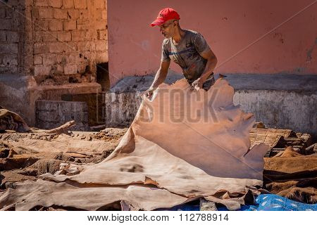 Man in a tannery in Marrakesh