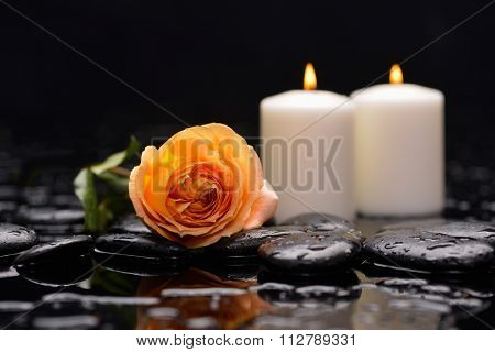 Spa still life with orange ranunculus and candle on pebbles