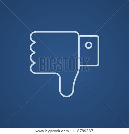 Thumb down hand sign line icon for web, mobile and infographics. Vector light blue icon isolated on blue background.
