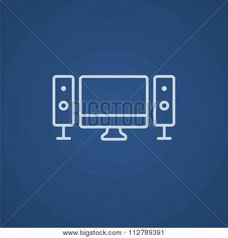 Home cinema system line icon for web, mobile and infographics. Vector light blue icon isolated on blue background.