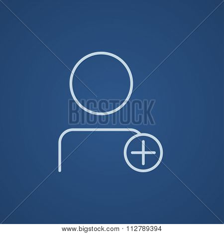 User profile with plus sign line icon for web, mobile and infographics. Vector light blue icon isolated on blue background.