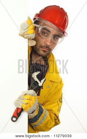 Worker Holding Blank Poster
