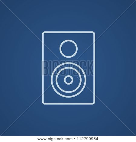 MP3 player line icon for web, mobile and infographics. Vector light blue icon isolated on blue background.