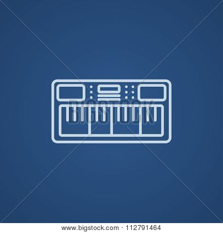 Synthesizer line icon for web, mobile and infographics. Vector light blue icon isolated on blue background.