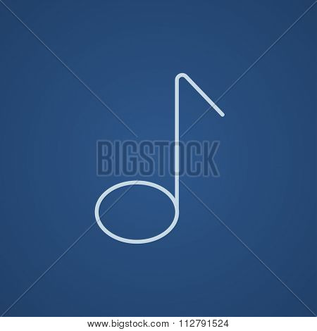 Music note line icon for web, mobile and infographics. Vector light blue icon isolated on blue background.
