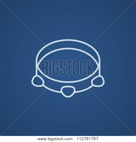 Tambourine line icon for web, mobile and infographics. Vector light blue icon isolated on blue background.