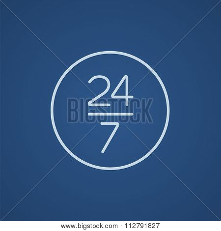 Open 24 hours and 7 days in wheek sign line icon for web, mobile and infographics. Vector light blue icon isolated on blue background.