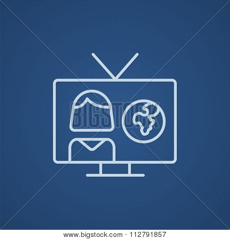 TV report line icon for web, mobile and infographics. Vector light blue icon isolated on blue background.