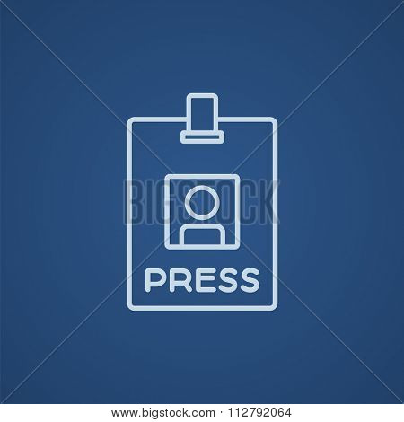 Press pass ID card line icon for web, mobile and infographics. Vector light blue icon isolated on blue background.