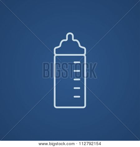 Feeding bottle line icon for web, mobile and infographics. Vector light blue icon isolated on blue background.