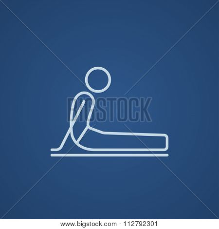 A man practicing yoga upward dog pose line icon for web, mobile and infographics. Vector light blue icon isolated on blue background.