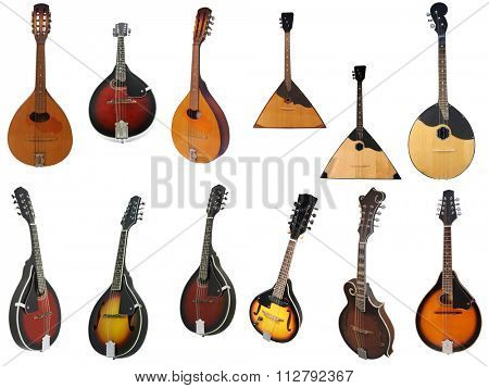 The image of domra and balalaikas under the white background